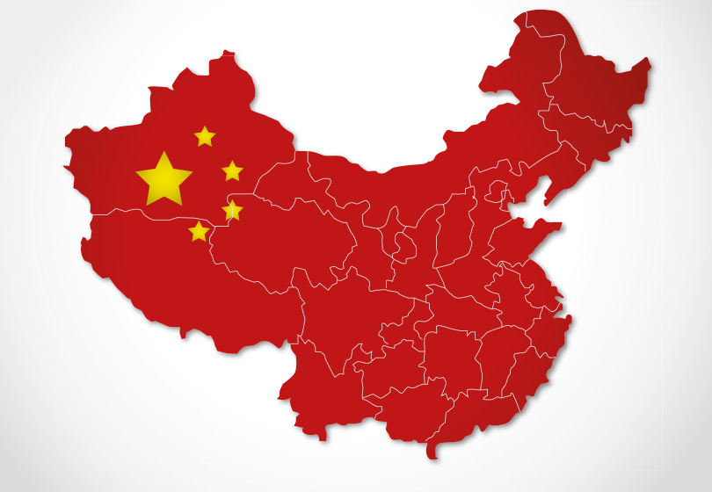 Векторная карта Китая раскрашенная в цвета флага