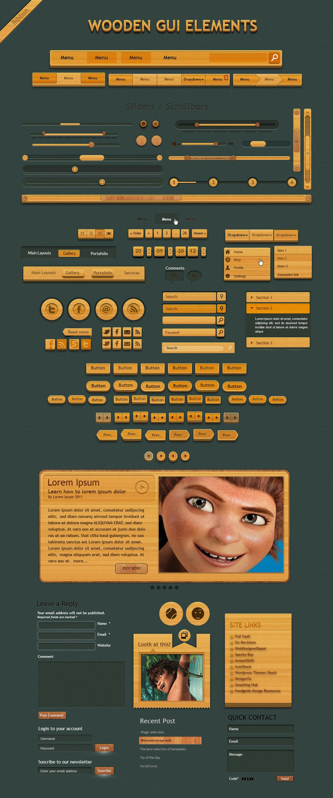 Шаблон элементов деревянного интерфейса «Wooden Gui Elements»