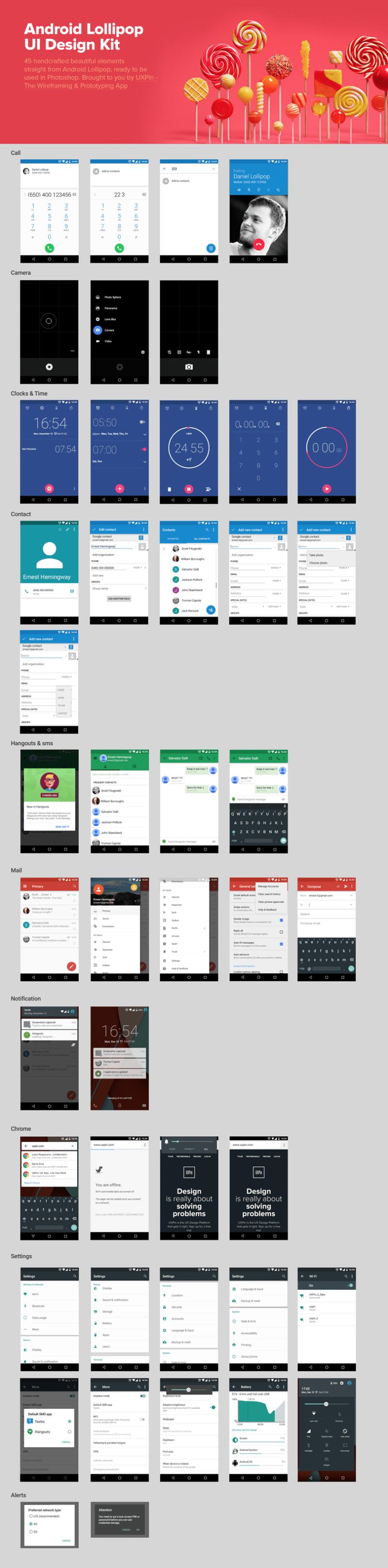 Скачать подборку шаблонов Android-приложений — Lollipop Kit