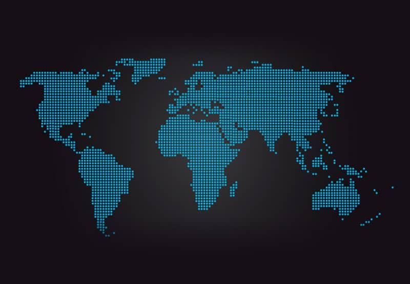 Векторная карта мира из синих точек