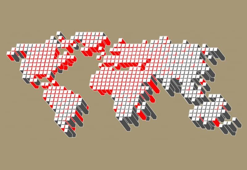 Векторная карта мира из соединенных точек