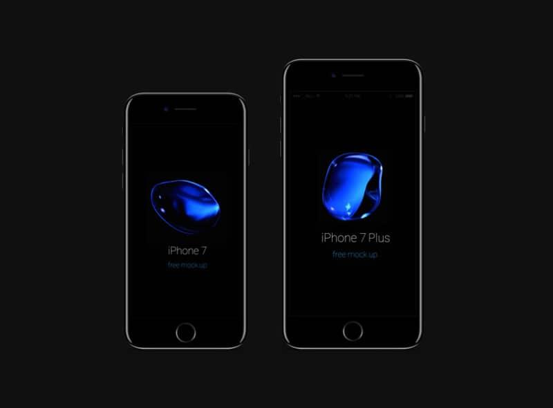 Шаблон смартфона iPhone 7 и 7 Plus в черном цвете