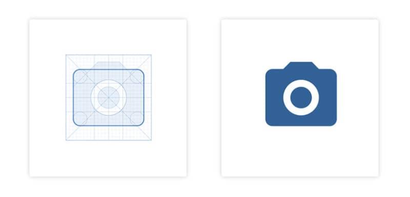 Геометричность иконки приложения «Камера»