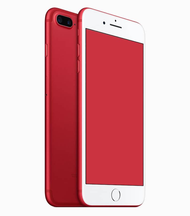 Шаблон красного смартфона iPhone 7 Plus