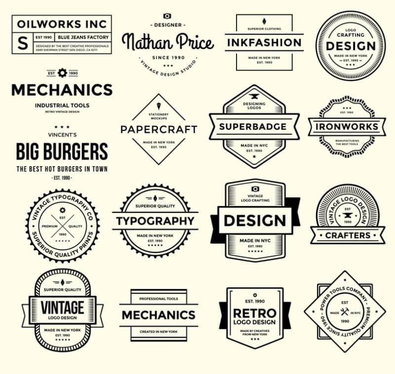 Коллекция из 17 винтажных логотипов