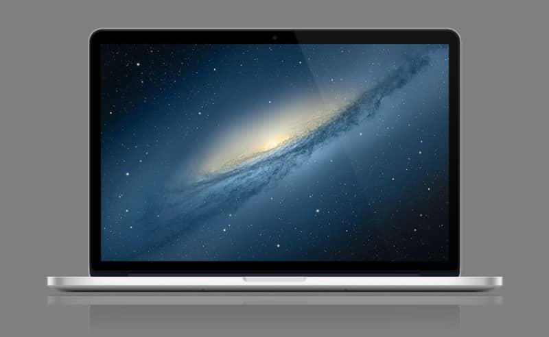 Шаблон ноутбука MacBook Retina