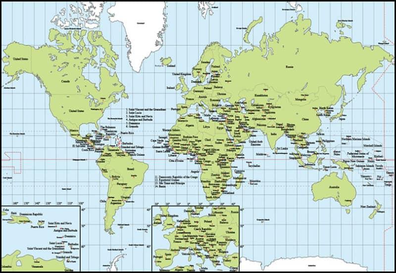 Шаблон карты мира с отмеченными столицами и странами
