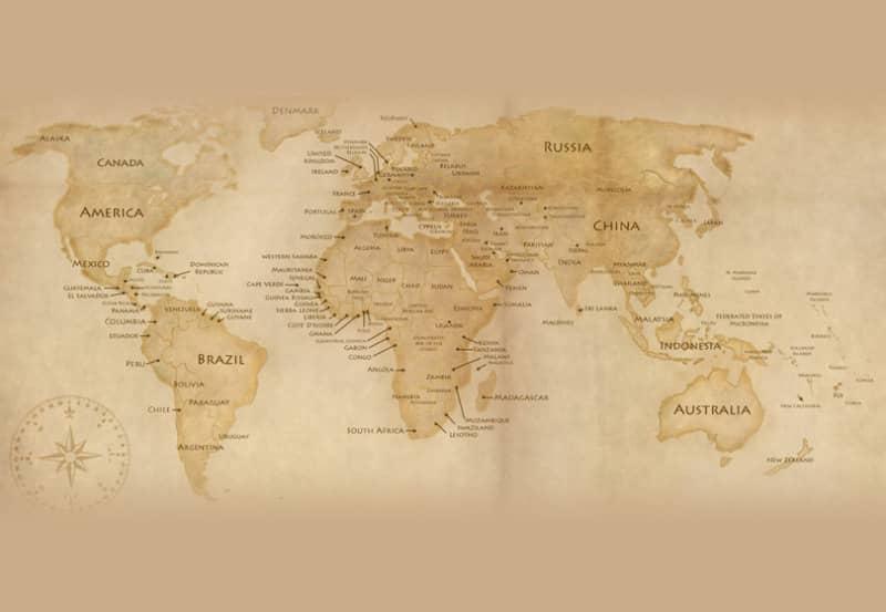Шаблон винтажной карты мира