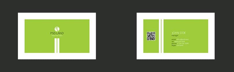 Макет зеленой визитки