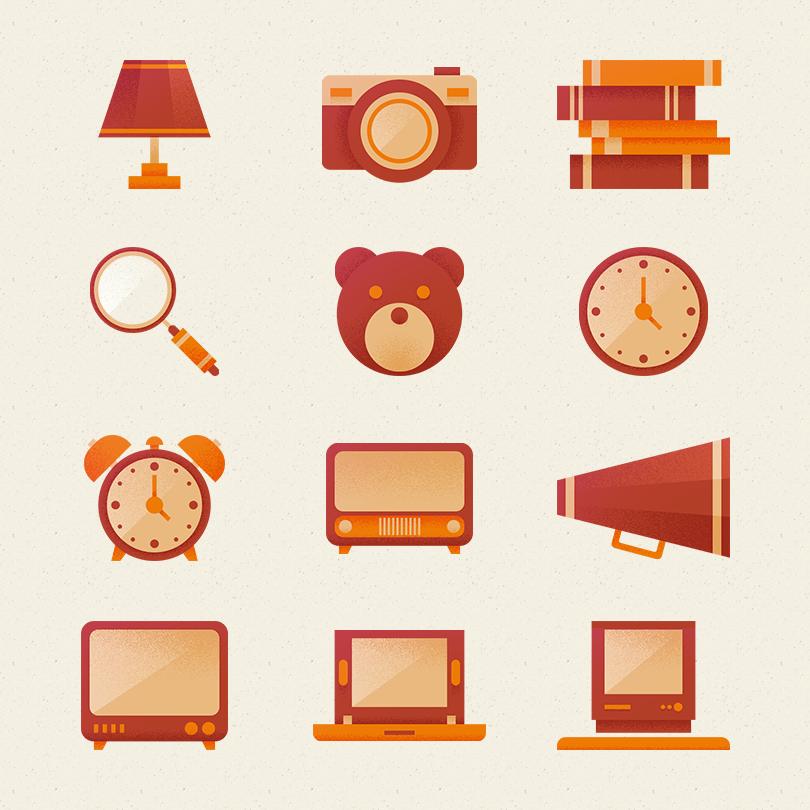 Сет винтажных иконок