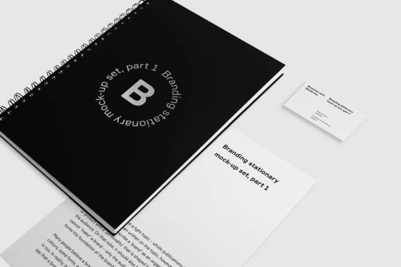Шаблон черного блокнота с визитной карточкой
