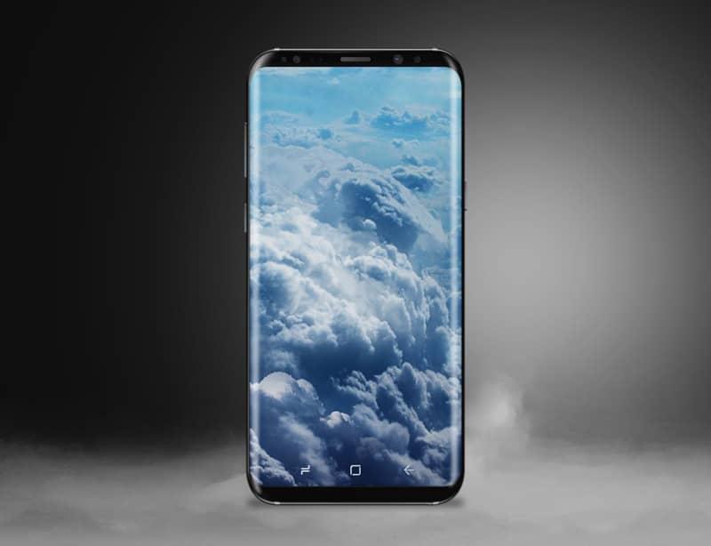 Детализированный шаблон смартфона Samsung Galaxy S8