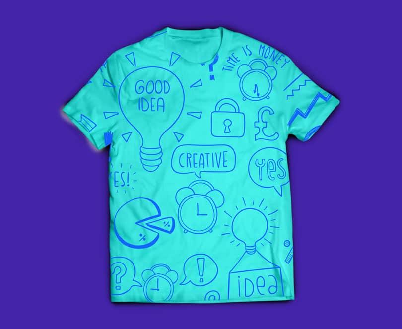 Шаблон футболки с полной запечаткой