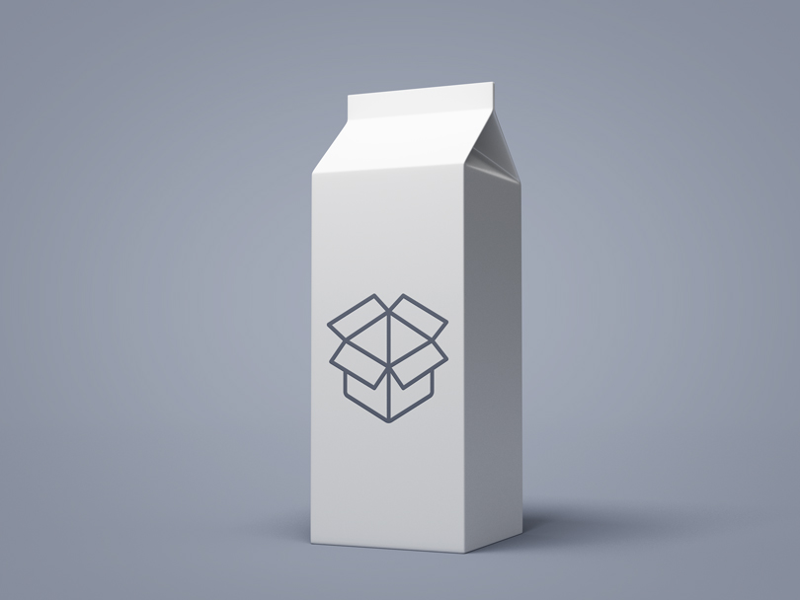 Шаблон пачки молока белого цвета