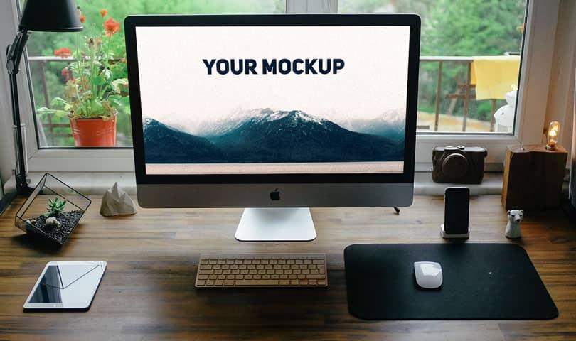 Шаблон Apple iMac на столе