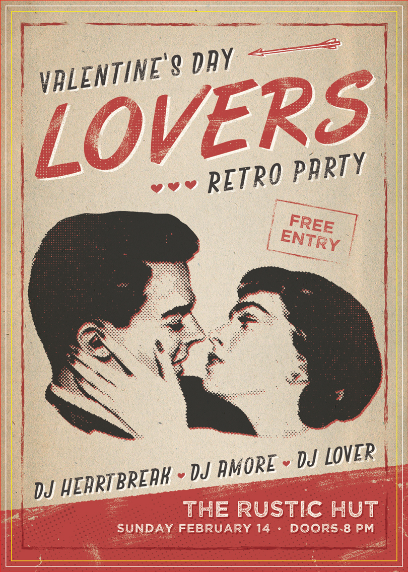Постер ко Дню cвятого Валентина в стиле ретро