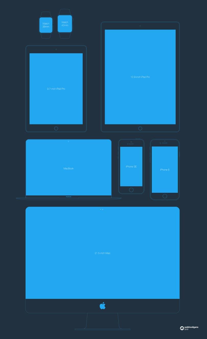 Шаблоны техники Apple в стиле флэт