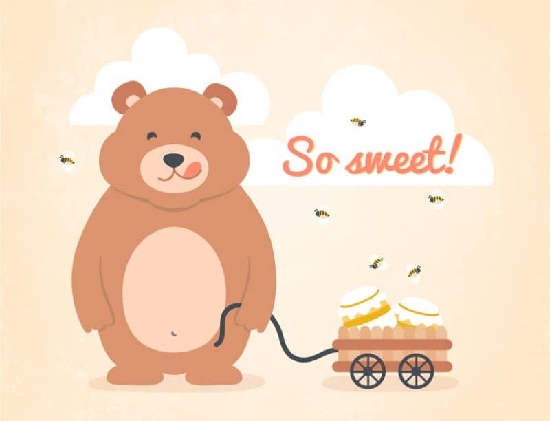 Векторная открытка медвежон с медом