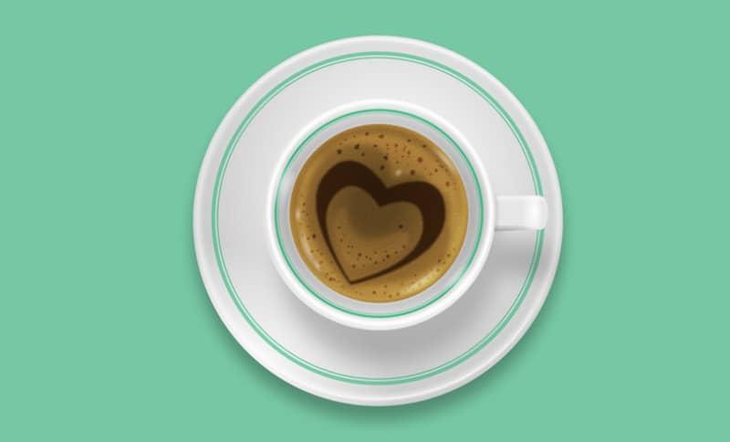 Шаблон кофейной чашки с зеленым контуром