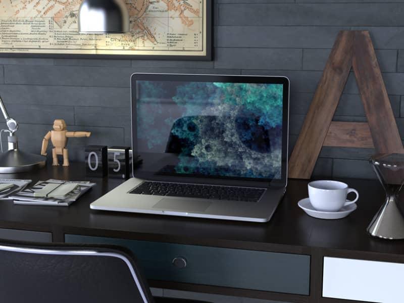 Шаблон MackBook на столе