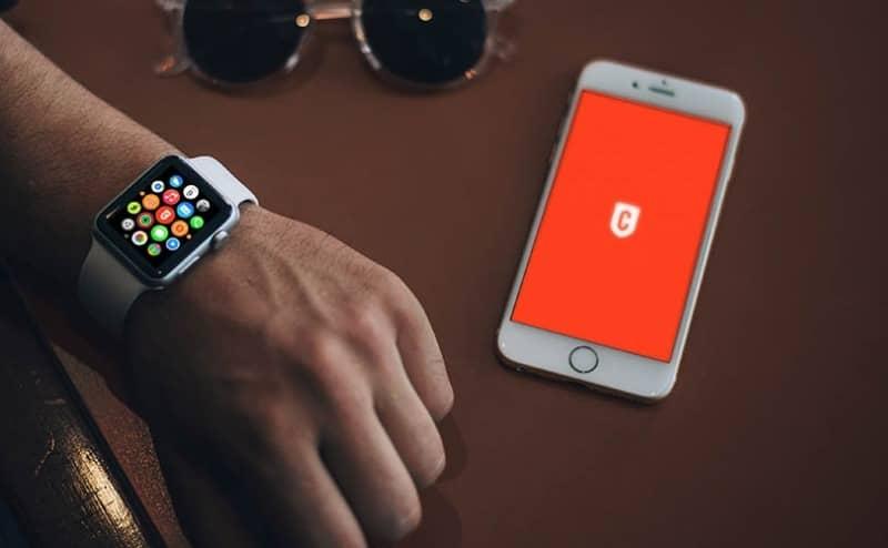 Шаблон часов Apple Watch Sport и смартфона iPhone