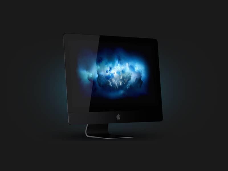 Шаблон компьютера Apple iMac в пол оборота