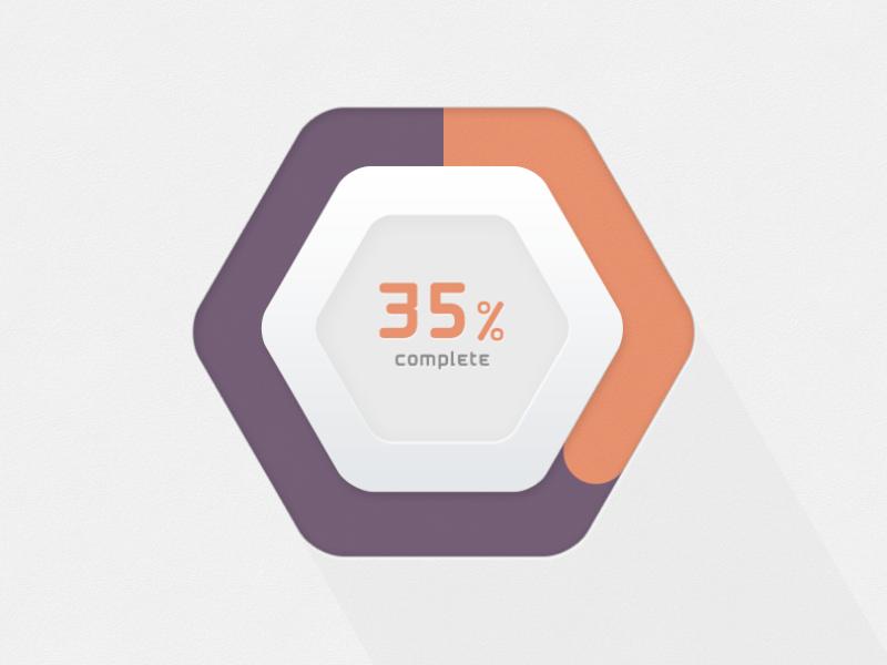 Макет шестигранного прогресс бара