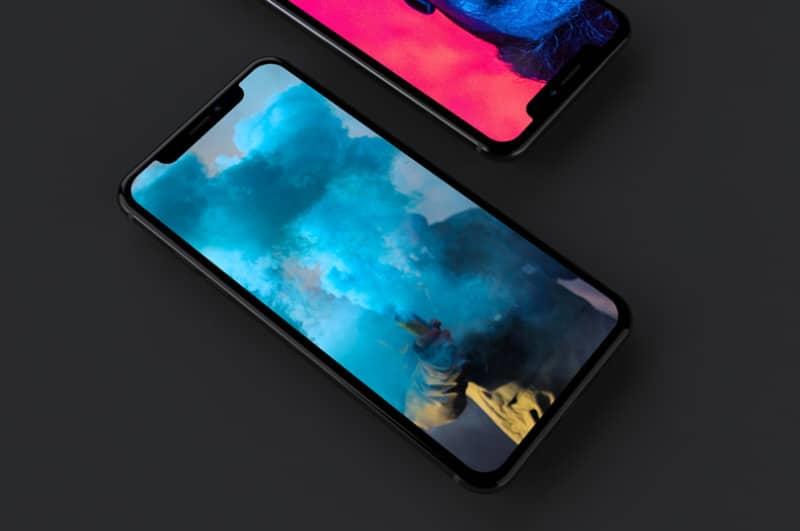 Шаблон iPhone X под наклоном