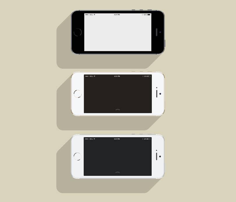 Шаблон смартфона iPhone 5S в стиле флет