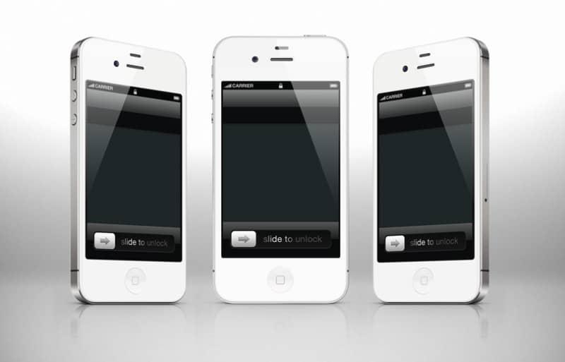 Шаблоны iPhone 4 и 4s в белом цвете