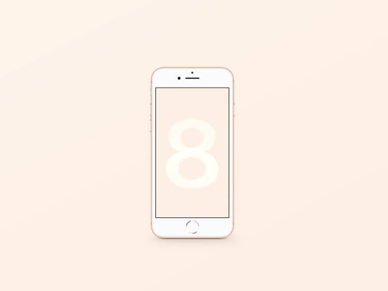 Шаблон смартфона iPhone 8 в золотом цвете