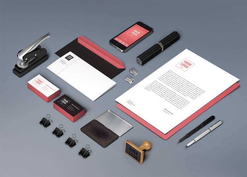 Шаблон фирменного стиля на офисных предметах